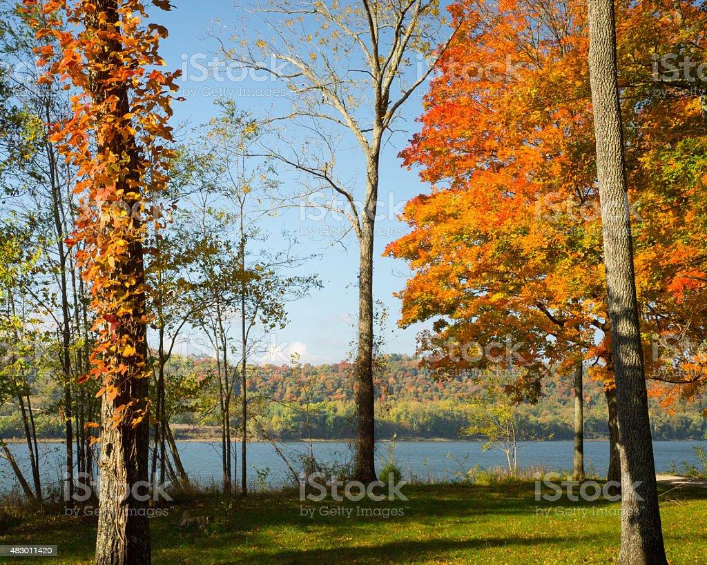 Autumn In Two States stock photo