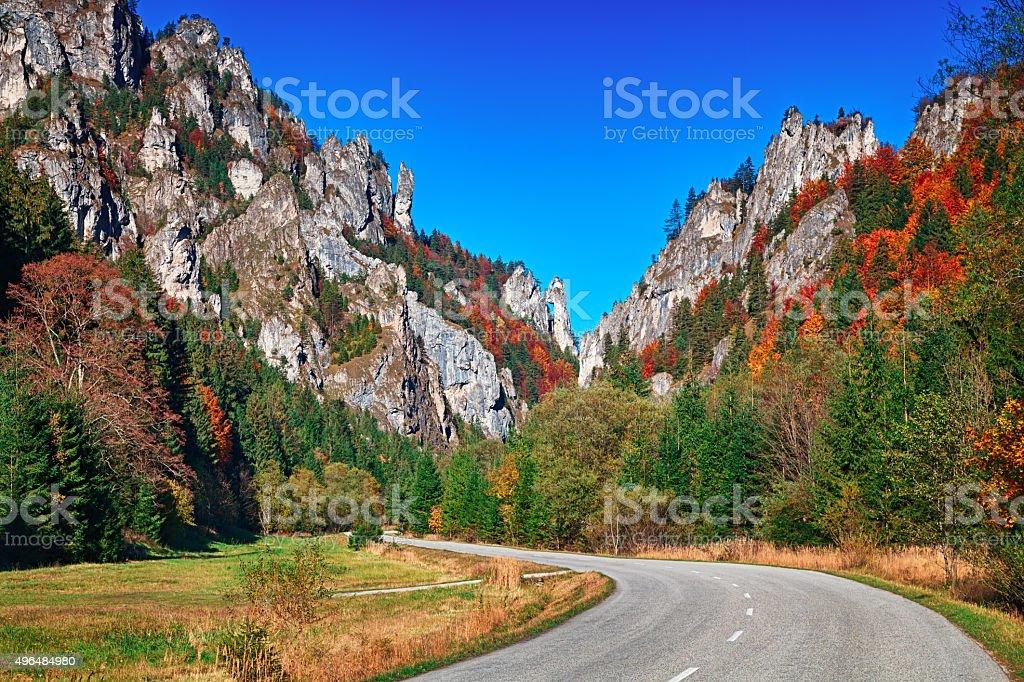 Autumn in Vratna Valley, Mala Fatra mountain range, Slovakia stock photo