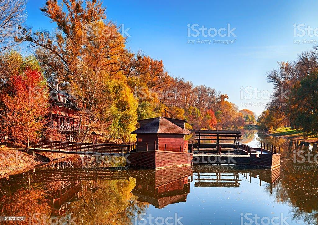 Autumn in watermill, Slovakia stock photo