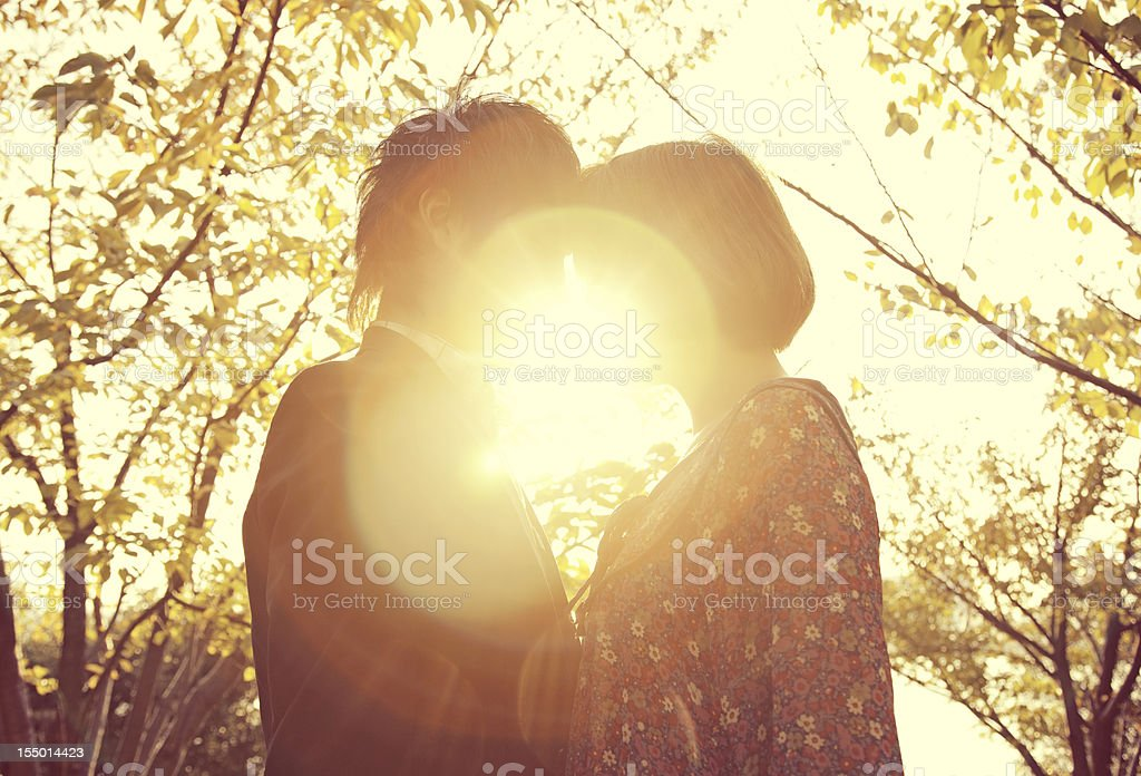 Autumn Japanese Couple stock photo