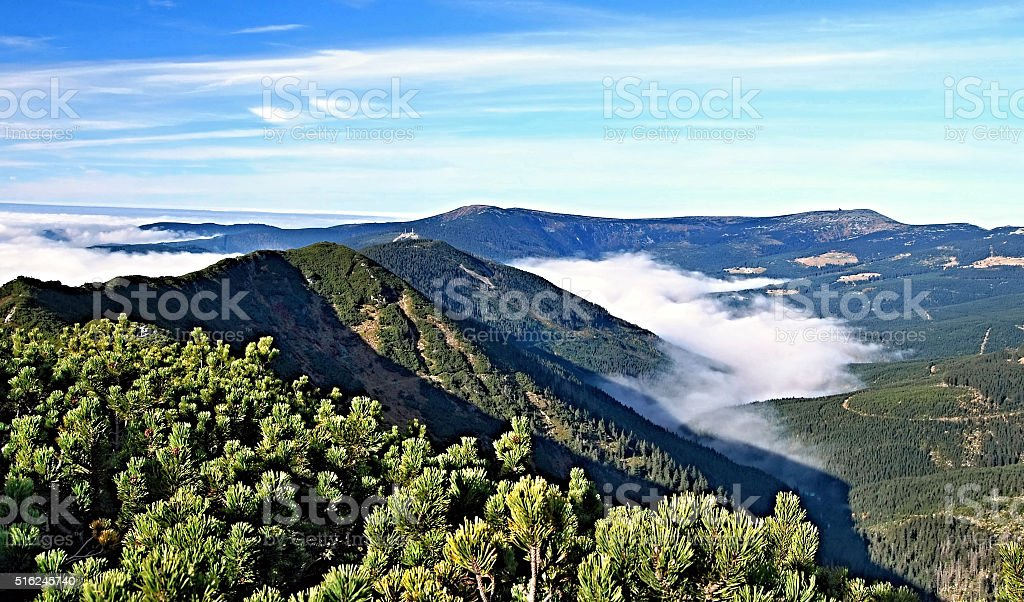 autumn Krkonose mountains panorama from Krakonos hill stock photo