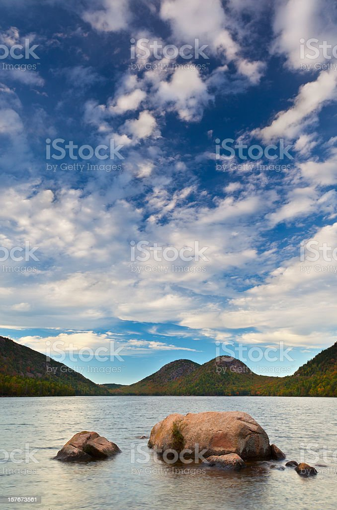 Autumn Lake and Clouds stock photo