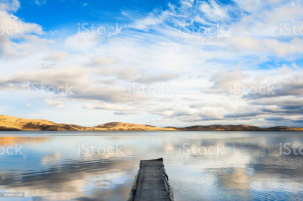 Autumn lake and mountain view stock photo