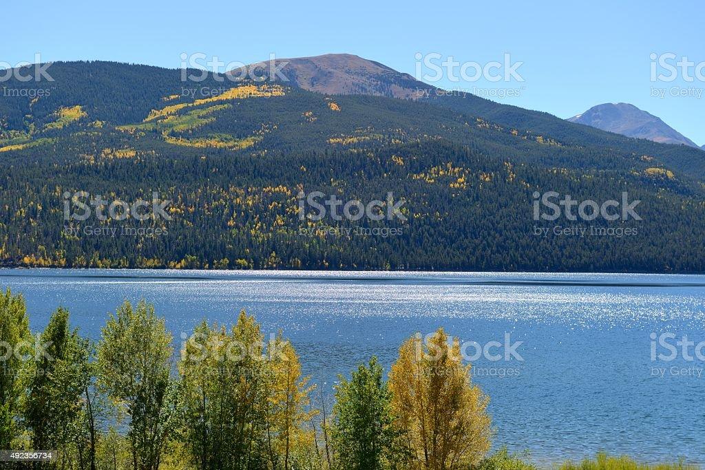 Autumn Lake and Mountains stock photo