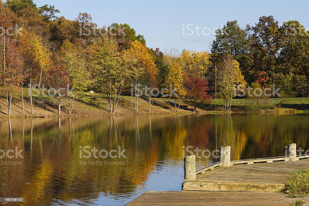 Autumn Lake and Wooden Dock royalty-free stock photo