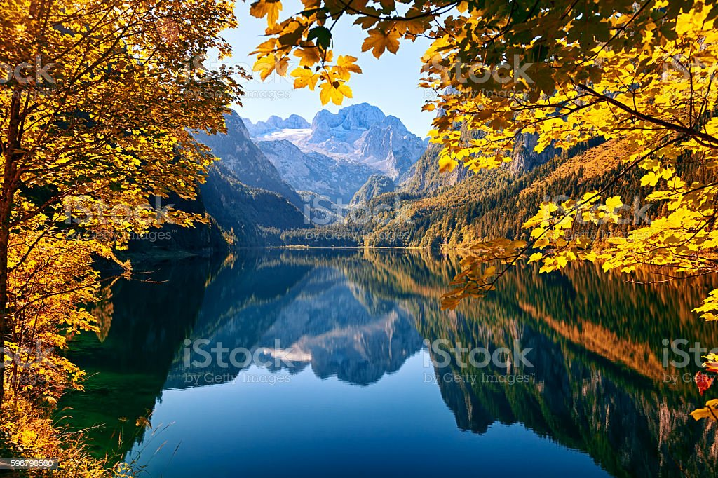 Autumn lake Gosausee in Salzkammergut, Austria stock photo