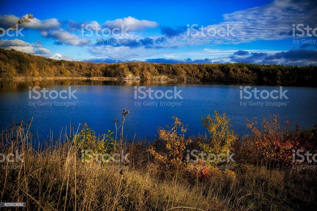 Autumn Lake n Bornholm stock photo