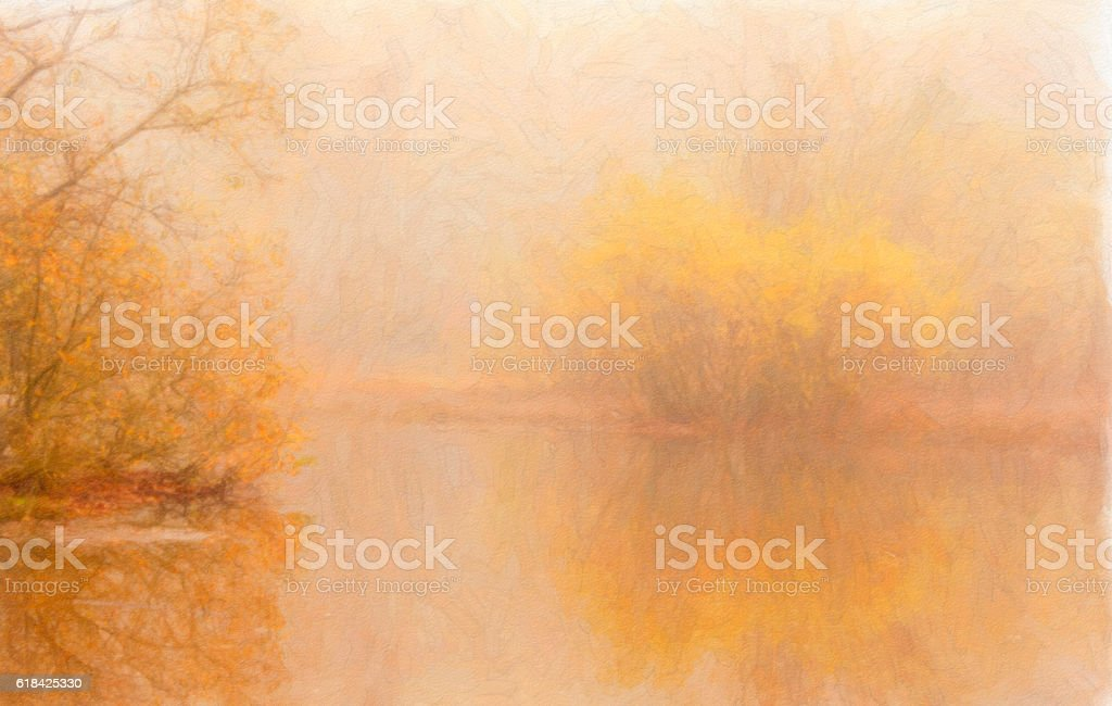 Autumn Lake Scene with Painterly Appearance stock photo
