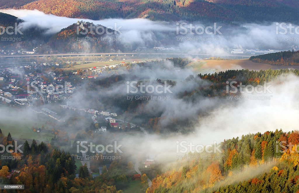 Autumn landscape, Hills and villages with foggy morning, Slovakia stock photo