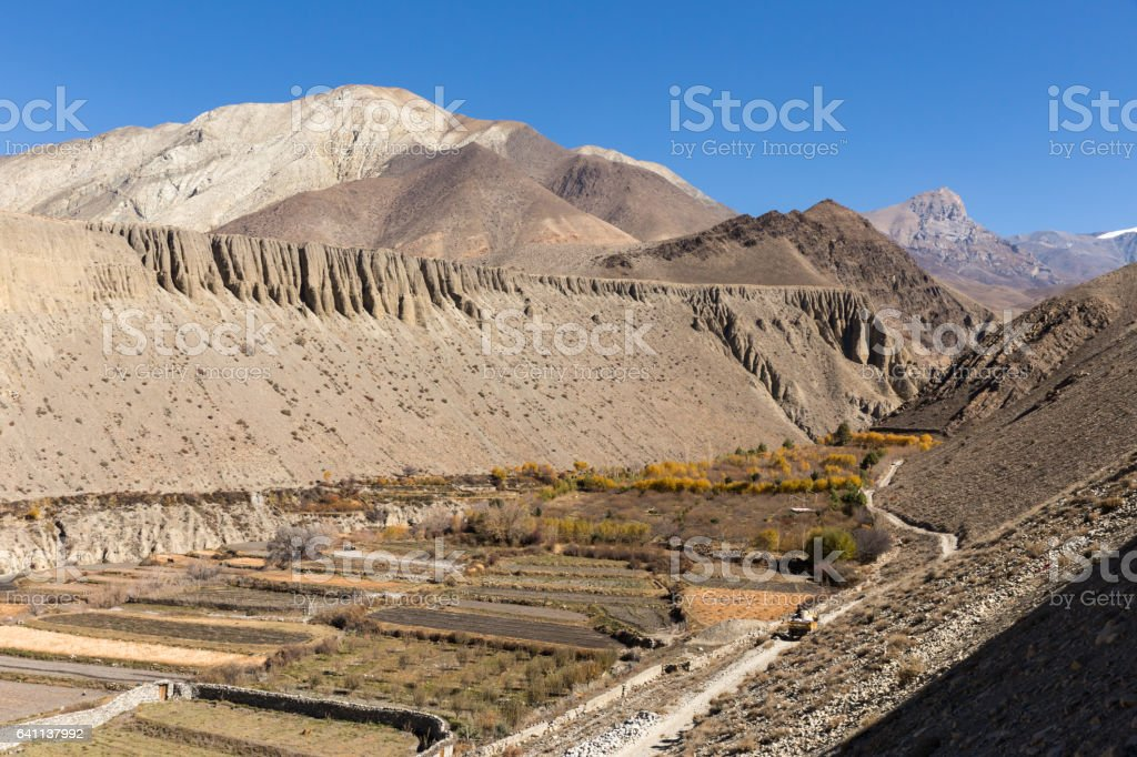 autumn landscape, Himalayas stock photo
