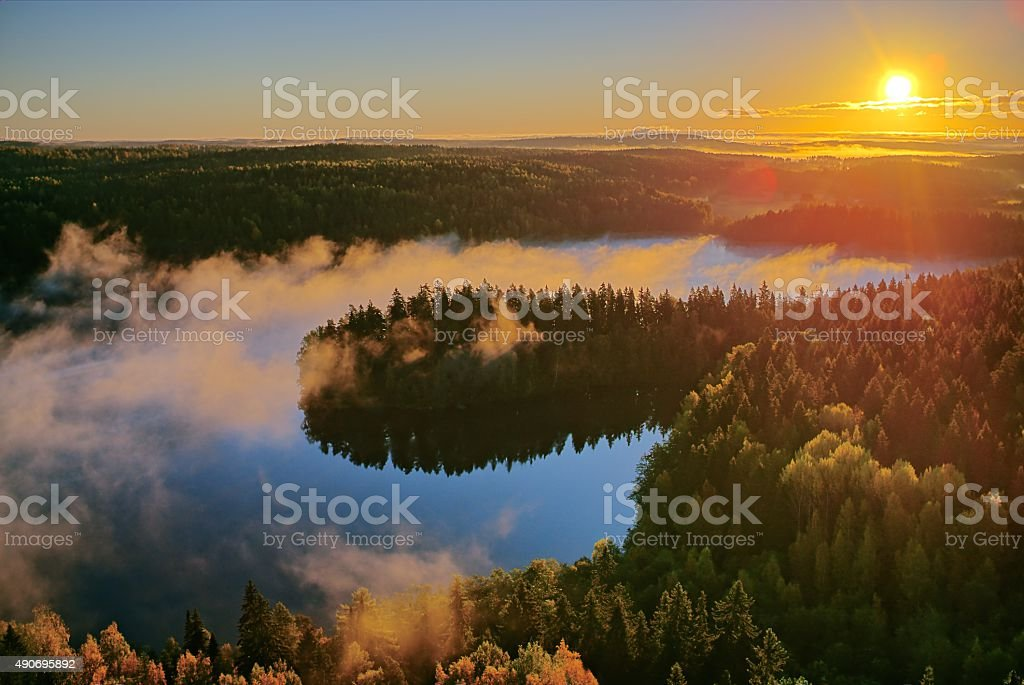 Autumn landscape in the morning stock photo