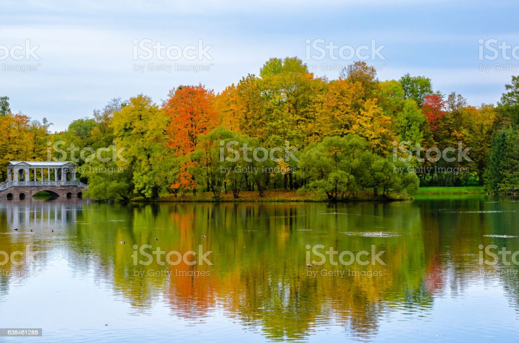 Autumn landscape in the Park stock photo