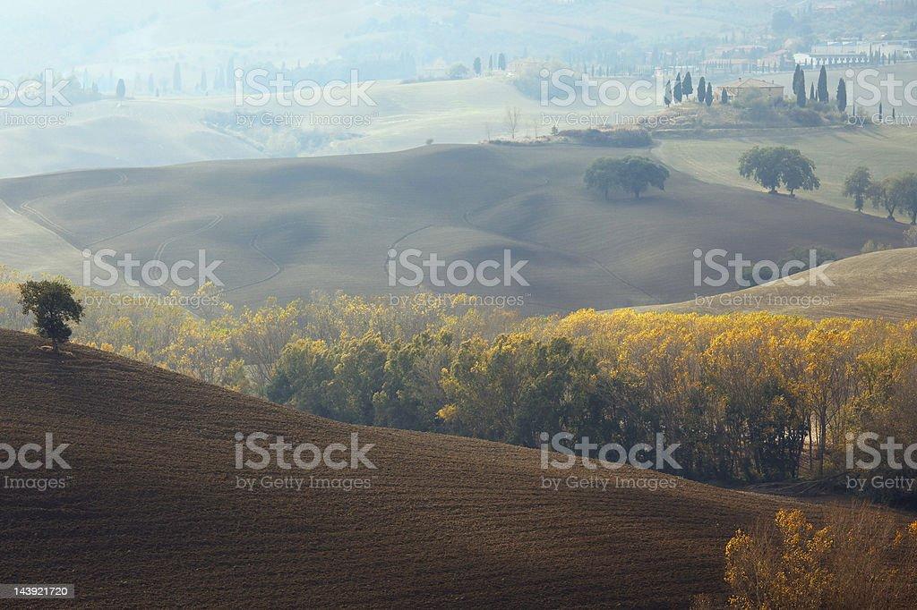 Autumn landscape in Tuscany stock photo