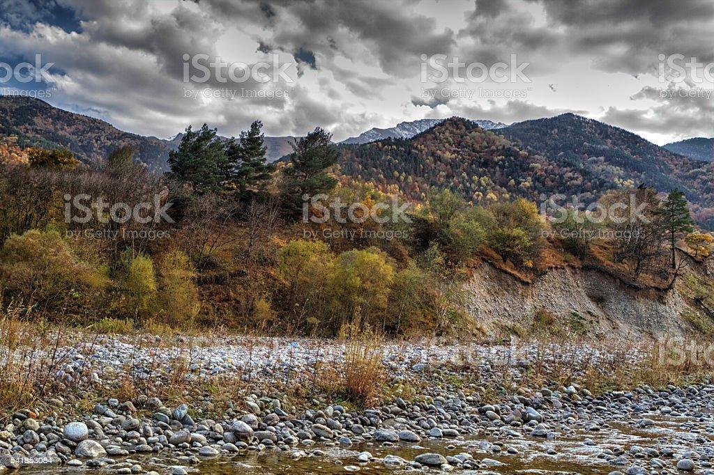 autumn landscape mountain river stock photo