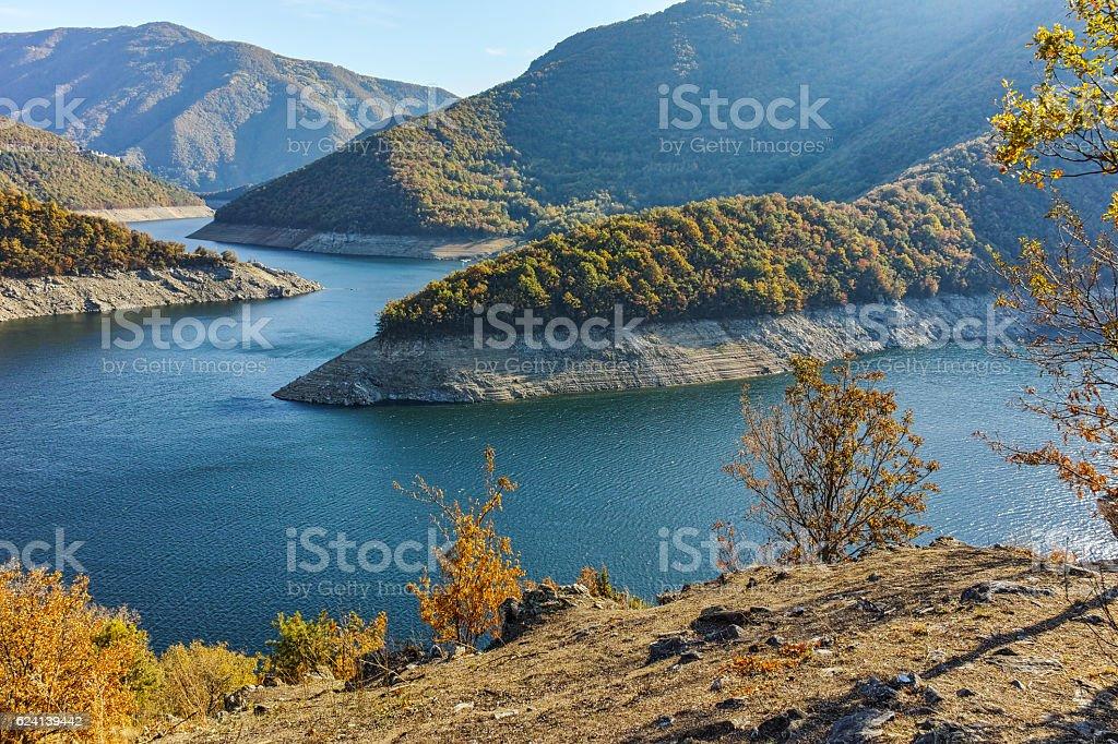 Autumn landscape of Meander of Vacha (Antonivanovtsy) Reservoir, Rhodopes Mountain stock photo