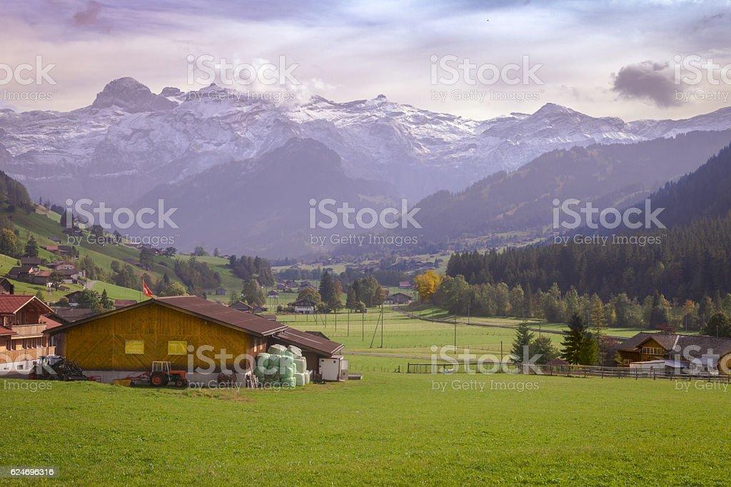 Autumn Landscape of Obersimmental valley, Wildstrubel mountains stock photo