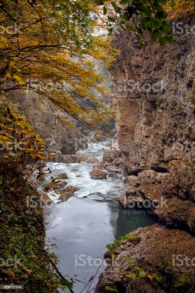 Autumn landscape of rapid mountain river stock photo
