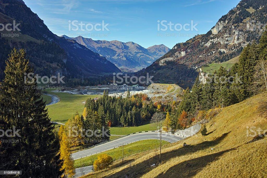Autumn Landscape of Swiss Alps,  Switzerland stock photo