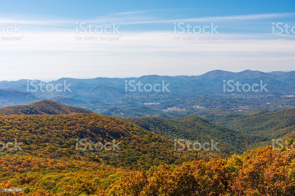 Autumn Landscape of the Blue Ridge Mountain Range stock photo