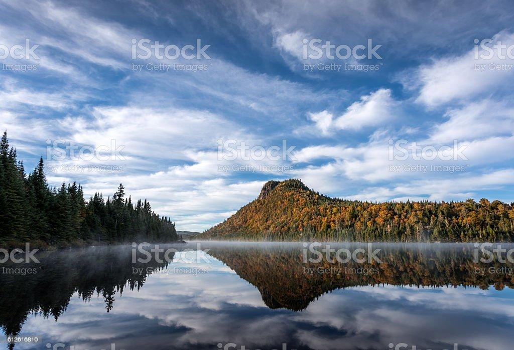 Autumn Landscape Reflection on Lake, Quebec, Canada stock photo