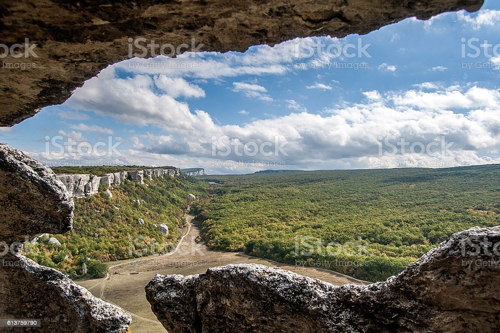 autumn landscape ruined ancient walls on a hill against the stock photo