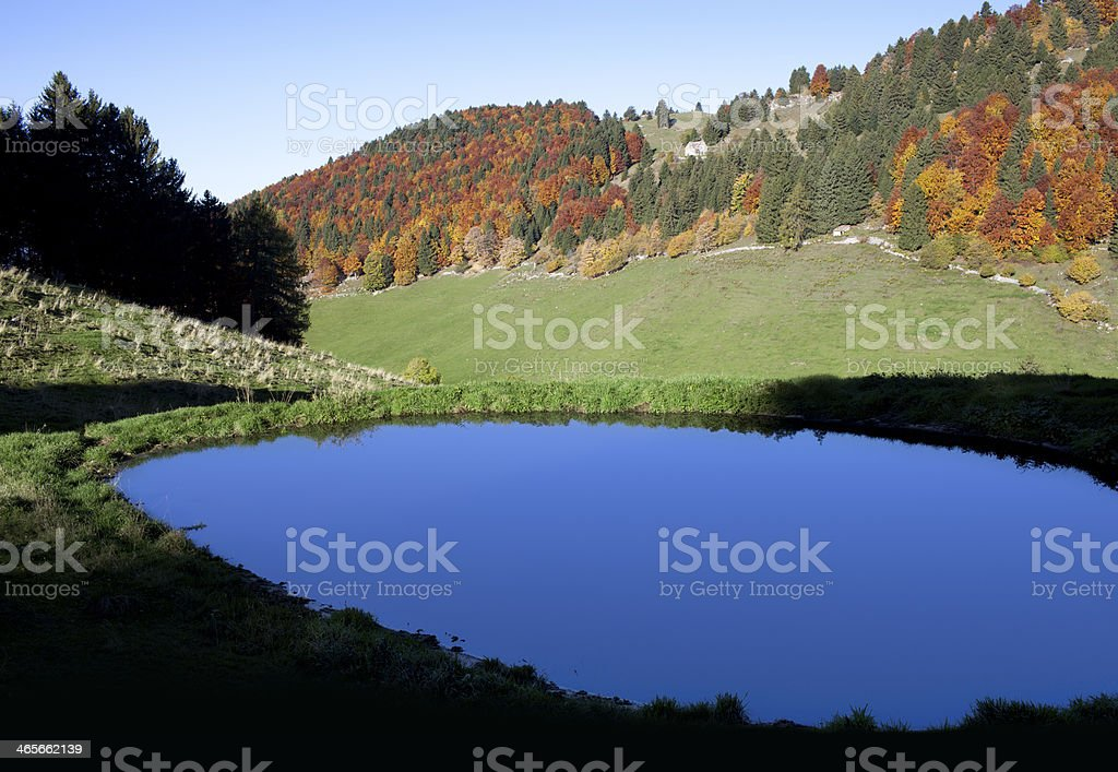 Autumn landscape. Small lake in the mountains. royalty-free stock photo