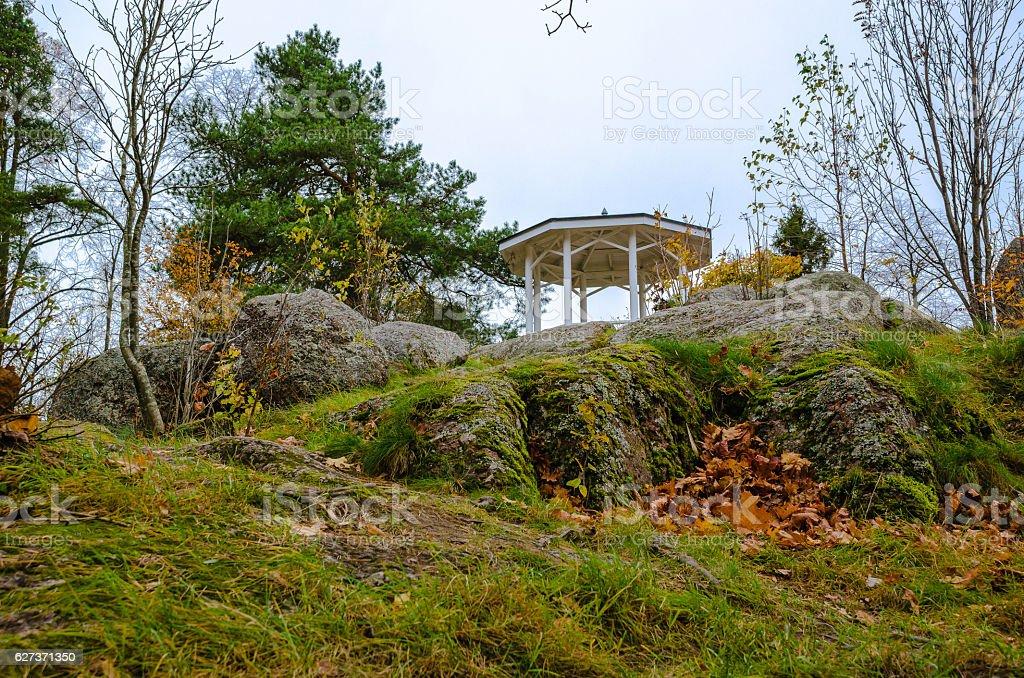 Autumn landscape with a pergola stock photo