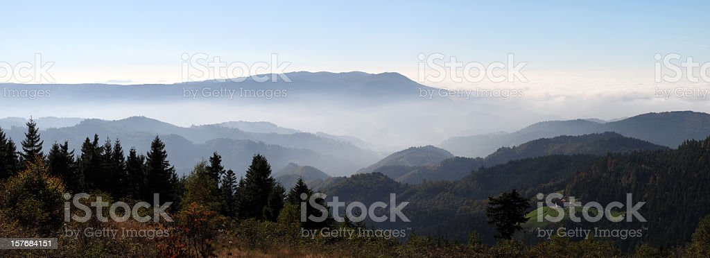 autumn landscape with fog in the Black Forest (Germany) stock photo