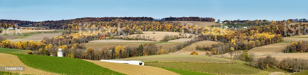 Autumn Landscape with Gently Rolling Hills in the Country stock photo