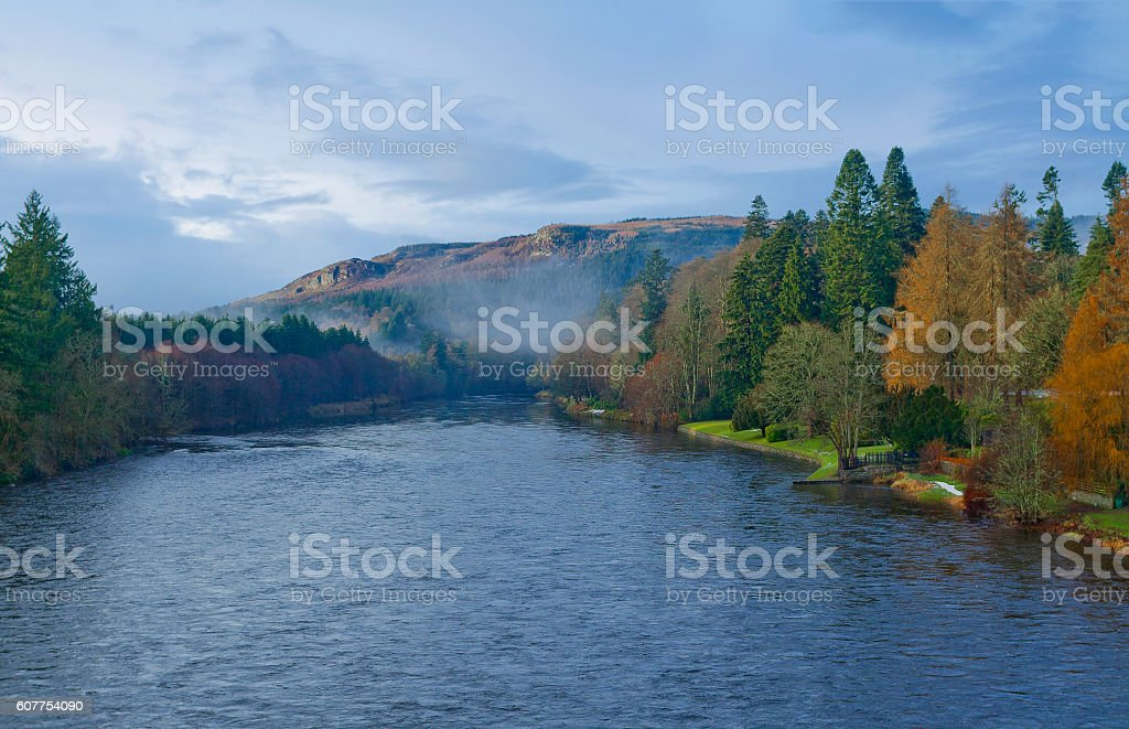 Autumn landscape with river Tay in Dunkeld, Scotland stock photo