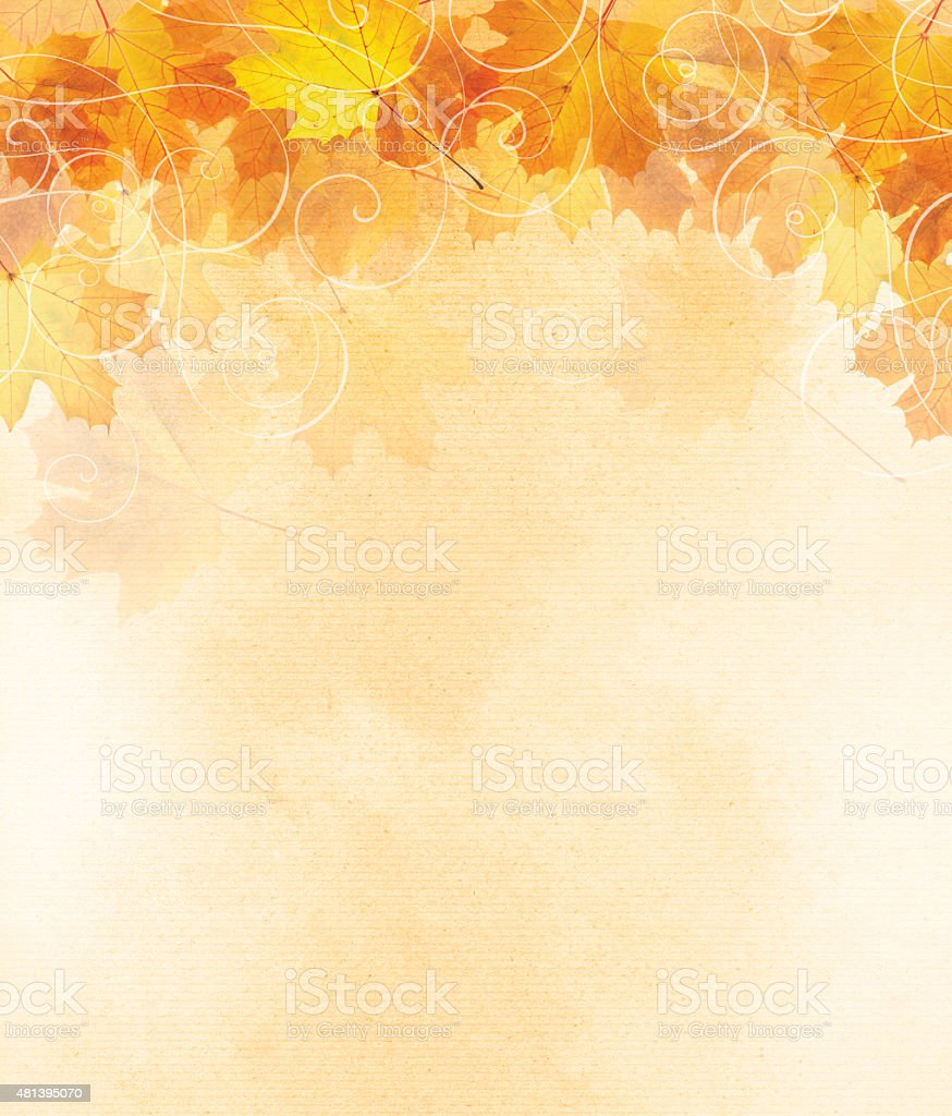 Autumn leaf illustration with room for copy space. stock photo