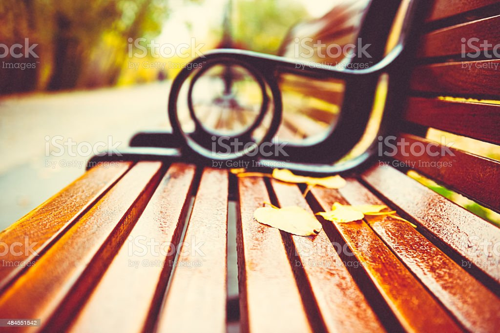 Autumn leafs on the park bench, vintage film effect stock photo