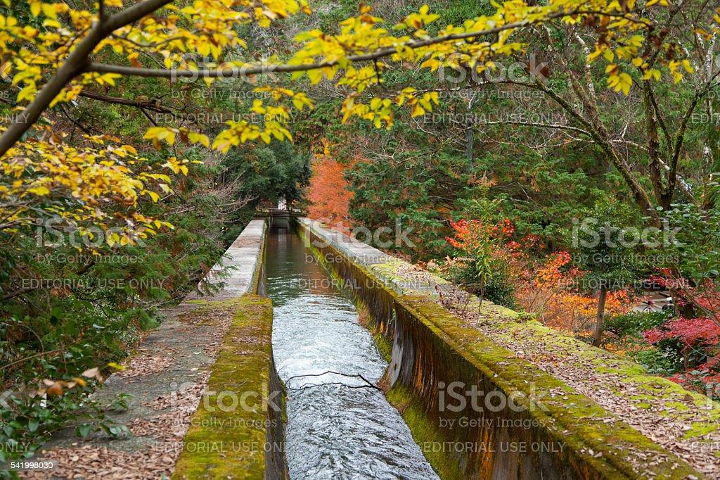 autumn leave of Biwako sosui canal at Nanzen-ji temple stock photo