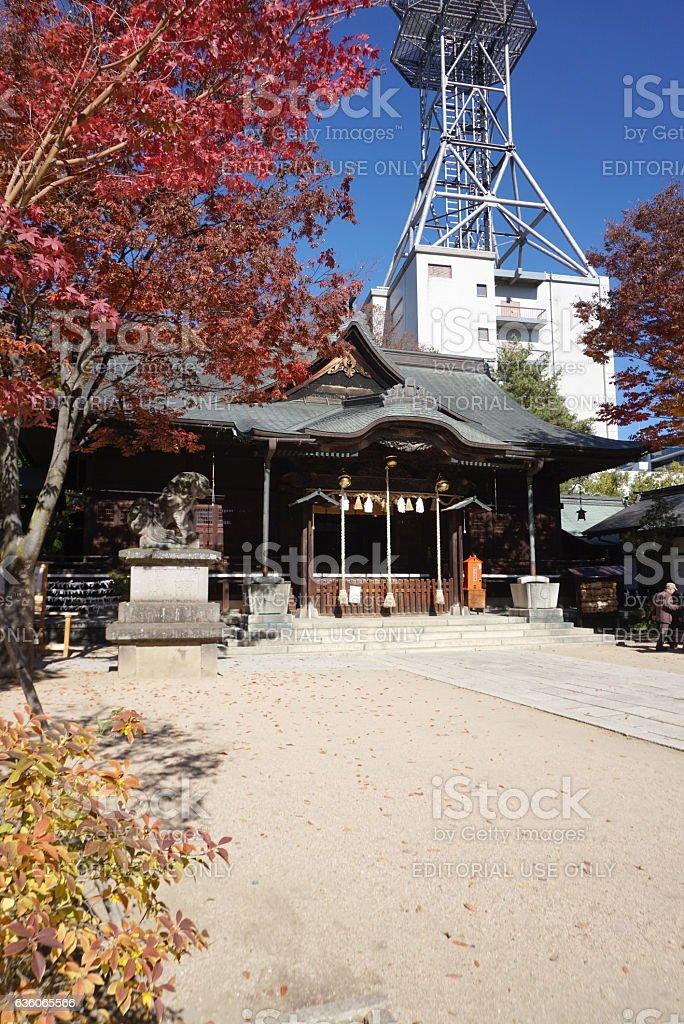 Autumn leaves at Yohashira Jinja Shrine in Matsumoto Japan stock photo
