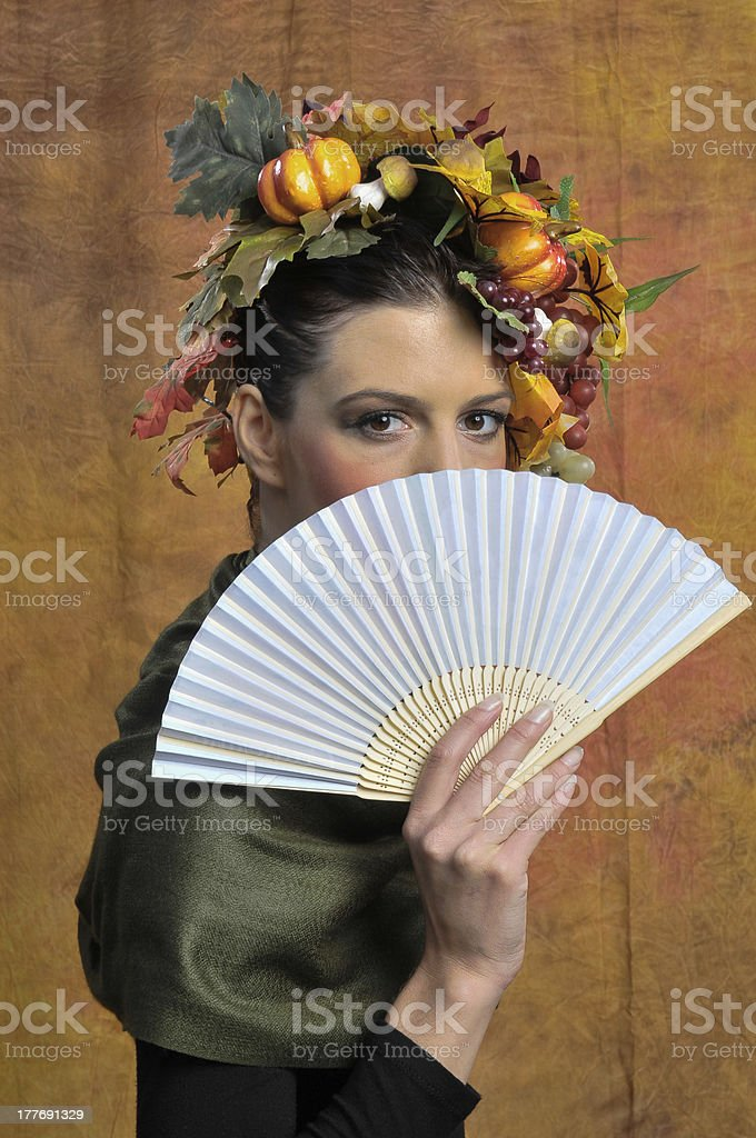 Autumn leaves beauty portrait with fan royalty-free stock photo