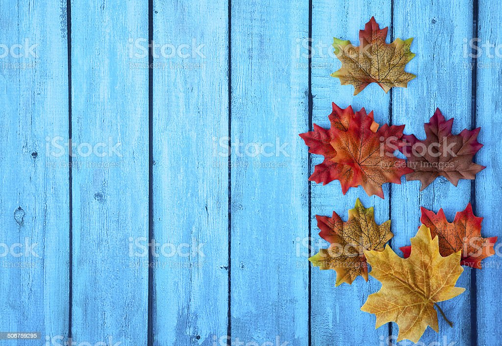 Autumn Leaves Thanksgiving Background stock photo