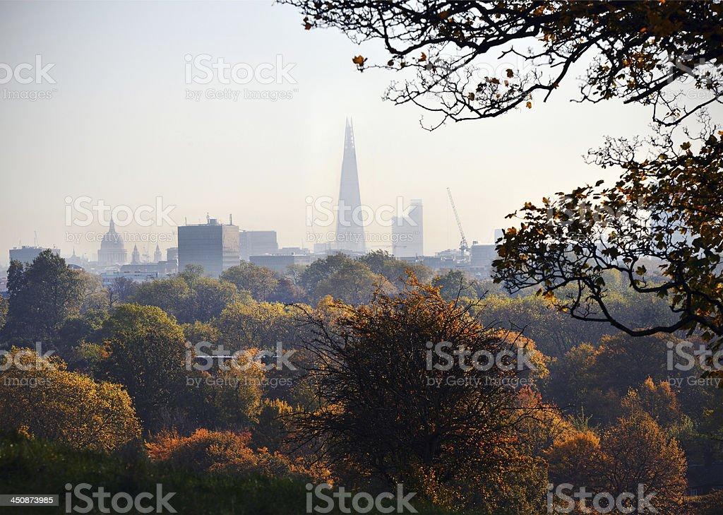 Autumn London skyline stock photo