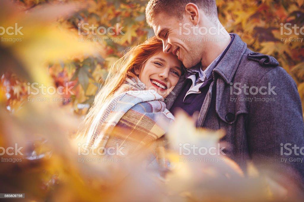 Autumn love stock photo