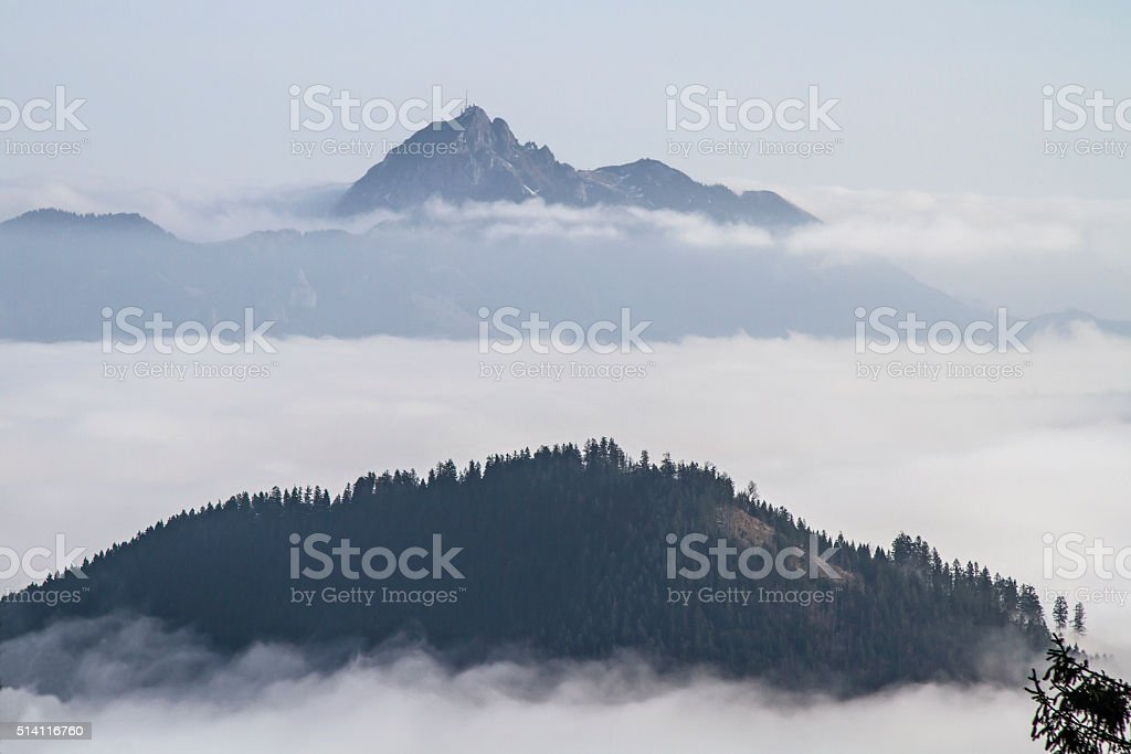 Autumn mist in Leitzach valley stock photo