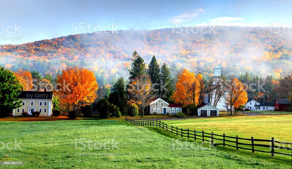 Autumn mist in the village of Tyringham in the Berkshires stock photo