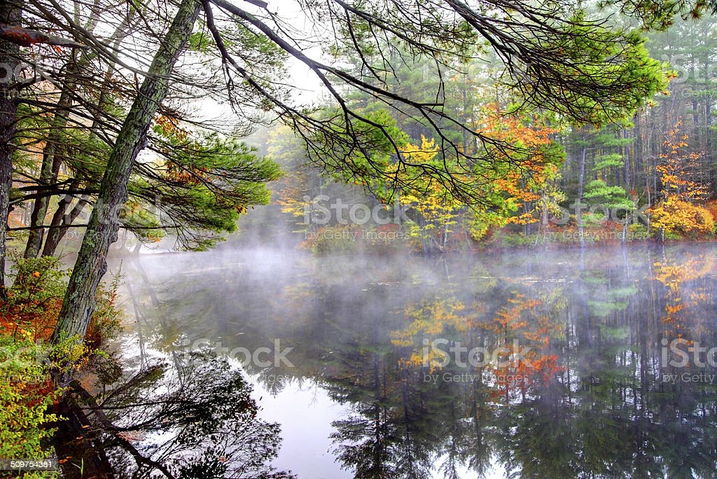 Autumn Mist in the White Mountains of New Hampshire stock photo