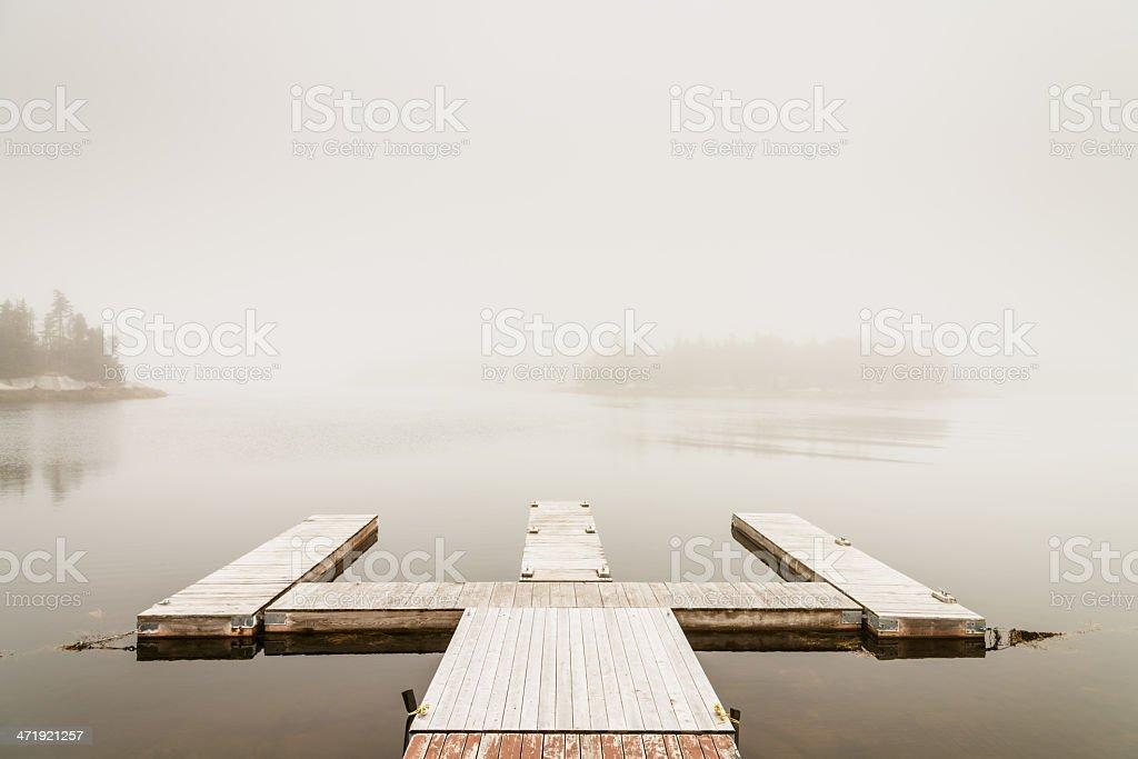 Autumn Mist, Jetty and Lake in Fog, Nova Scotia royalty-free stock photo