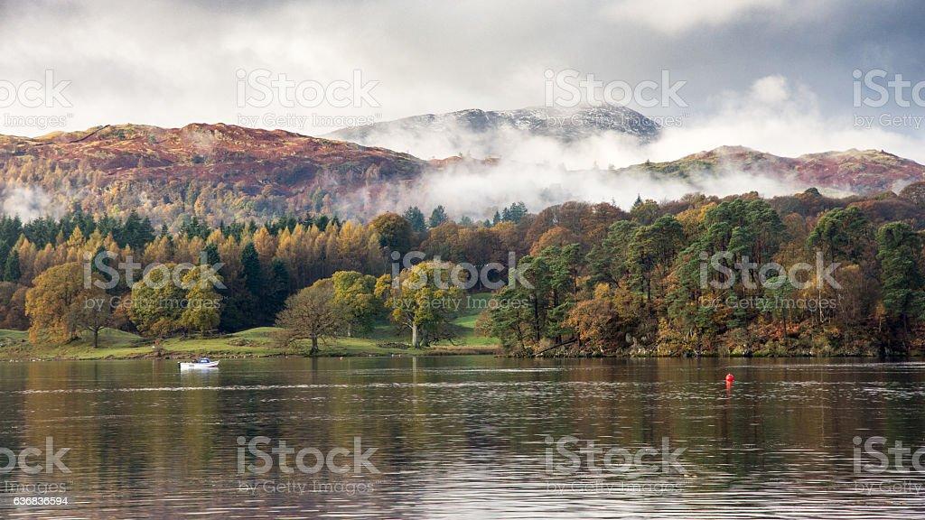 Autumn mist on Lake District mountains stock photo