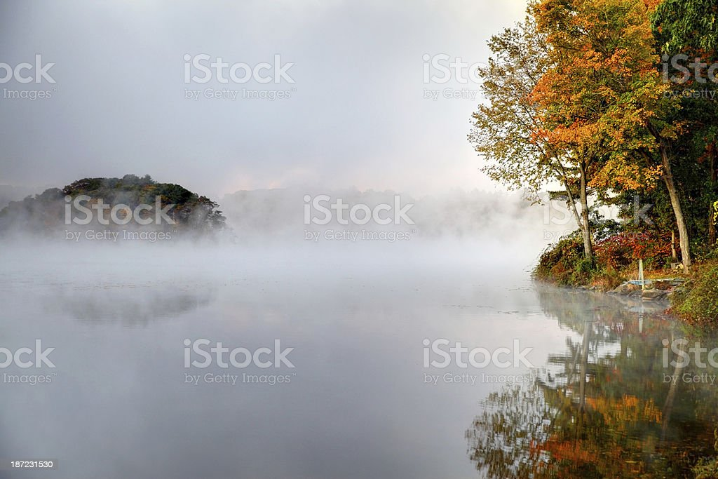 Autumn Mist on the Connecticut River stock photo
