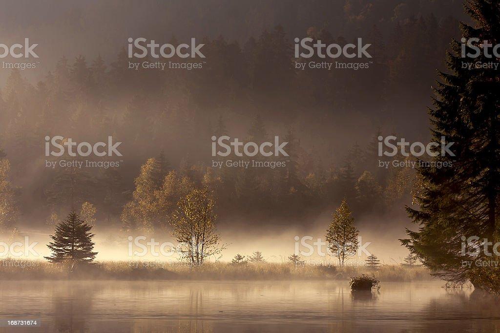 Autumn misty day sunset in mountain lake stock photo