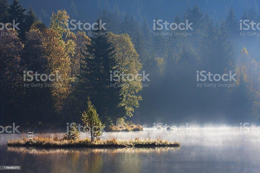 Autumn misty day sunset in mountain lake royalty-free stock photo