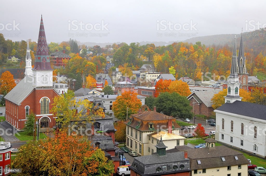 Autumn Montpelier, Vermont stock photo
