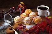 Autumn mood: Lemon muffins and mug of tea