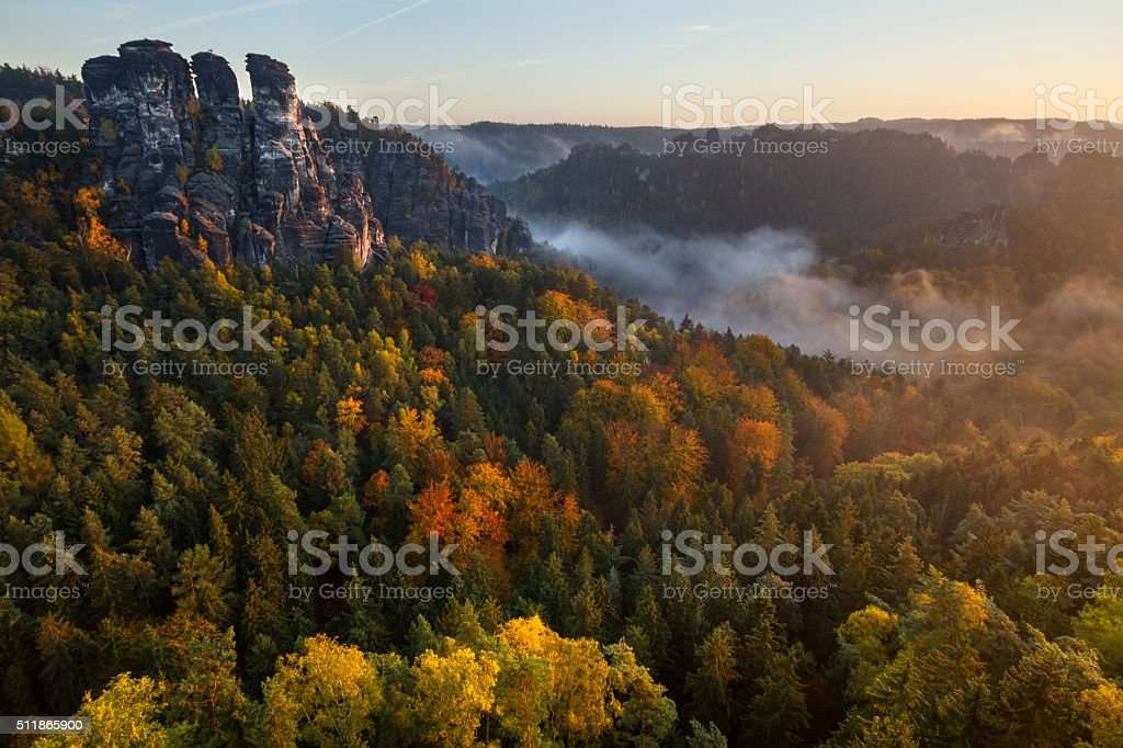 Autumn morning at Bastei stock photo
