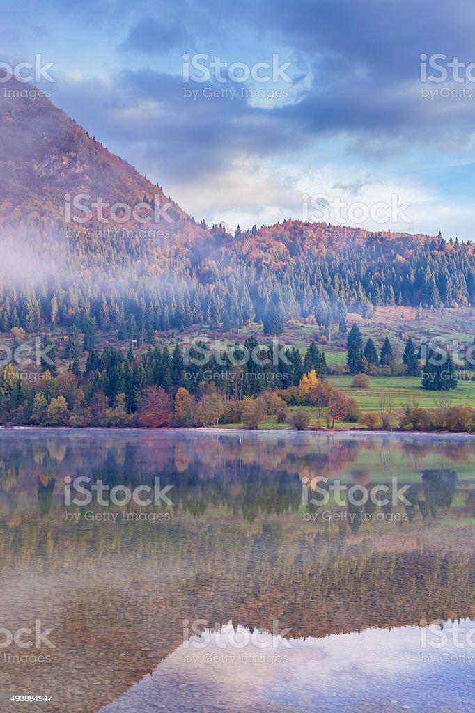 autumn morning at the lake royalty-free stock photo